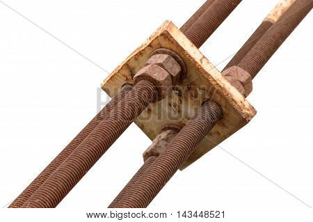 Rusty bolt screwed into the old metal construction