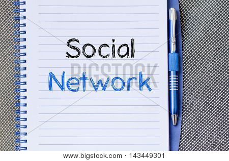 Social network text concept write on notebook