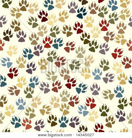 Seamless tile of dog paw prints