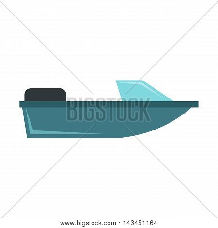 Motorboat icon in flat style isolated on white background. Sea transport symbol