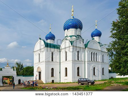 UGLICH RUSSIA - JULY 19 2016: Unidentified people are near Bogoyavlensky Cathedral of Epiphany Monastery during excursion Uglich Russia