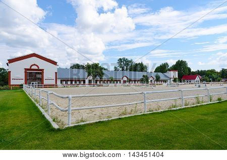 MOSCOW RUSSIA - JULY 23 2016: Racecourse at Exhibition of Achievements of National Economy Moscow Russia