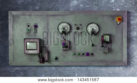 Close up rustic control panel of old machine grunge object