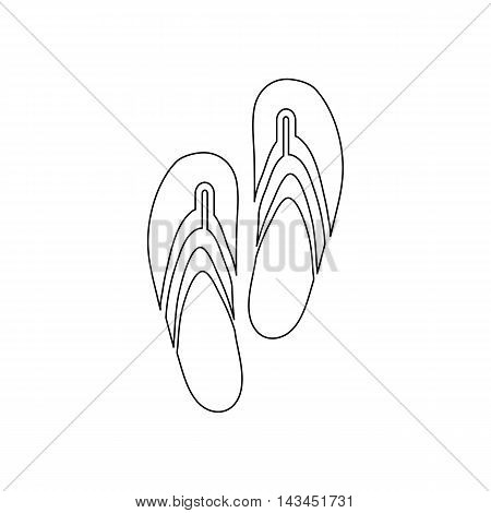Beach slippers icon in outline style isolated on white background