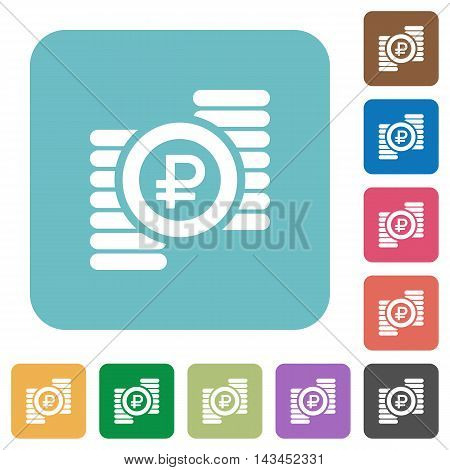 Flat Ruble coins icons on rounded square color backgrounds.