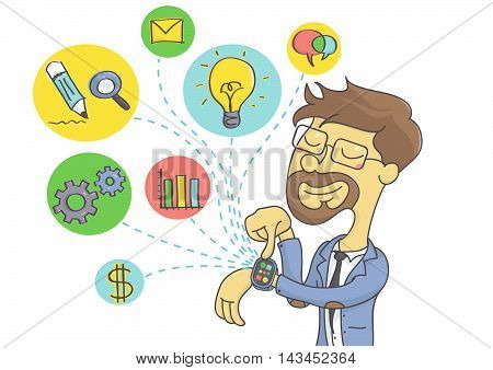 Wearable technology for businessmen. Business man planning business on smart watch. vector