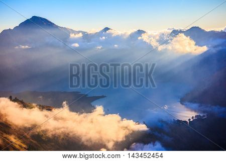 Cloudy and mist among panorama view of Mountain Rinjani volcano at Lombok island of Indonesia