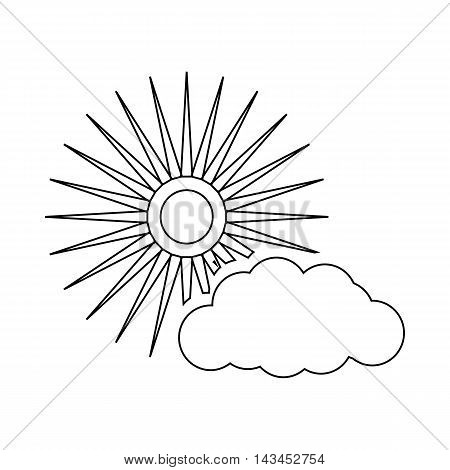 Sun and cloud weather icon in outline style isolated on white background