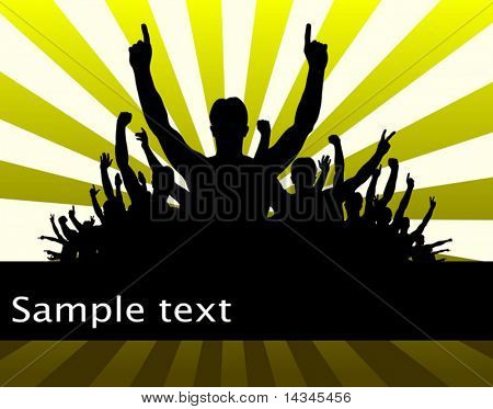 Editable vector illustration of men celebrating with copy space and all individual people as separate objects