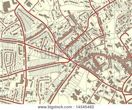 Bearbeitbare Vektor-Illustration von einer detaillierten generische Straßenkarte ohne Namen
