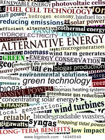 Background editable vector illustration of alternative energy newspaper headlines