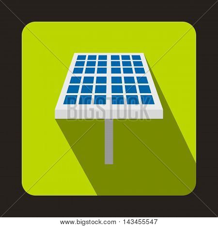 Solar battery icon in flat style with long shadow. Innovation symbol