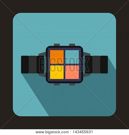 Smart watch icon in flat style with long shadow. Gadget symbol