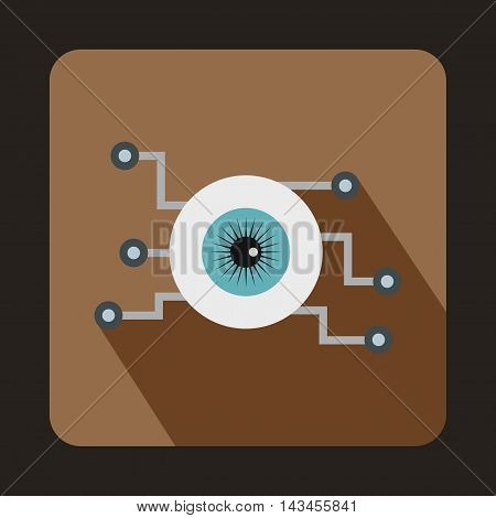 Cyber eyes icon in flat style with long shadow. Innovation symbol