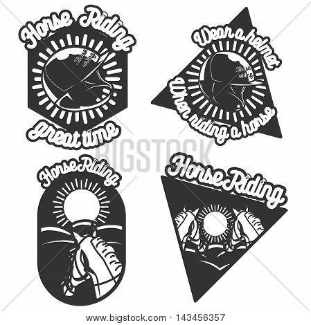 Vintage Horse riding emblems. Design elements, icons, logo, emblems and badges isolated on white background