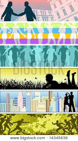 Set of editable vector banners using people silhouettes