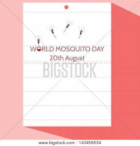 World mosquito day - simple funny cartoon illustration of 20th August stylized as calendar page