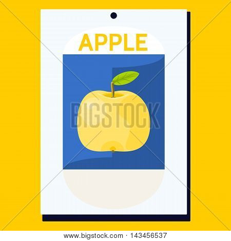 Yellow apple with green leaf on blue background on white card with inscription Apple. Simple decorative card for various occasions.