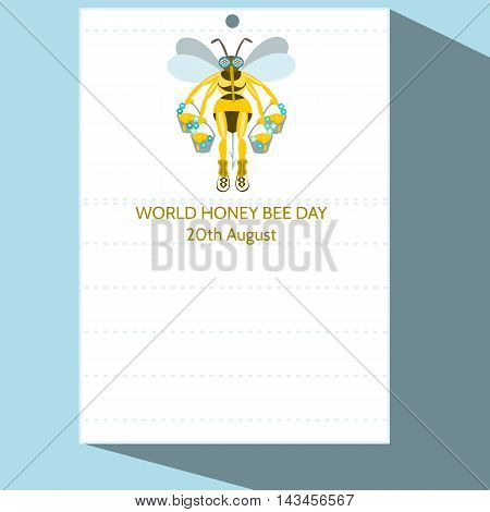 Calendar page with stylized cartoon bee illustration and inscription World Honey Bee Day 20th August - simple digital drawing