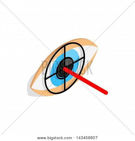 Check pupil of eye icon in isometric 3d style isolated on white background. Vision symbol