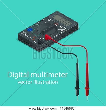 Digital multimeter. The measuring device in isometric style. Realistic vector illustration.