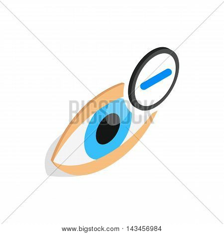 Vision myopia icon in isometric 3d style isolated on white background. Vision symbol
