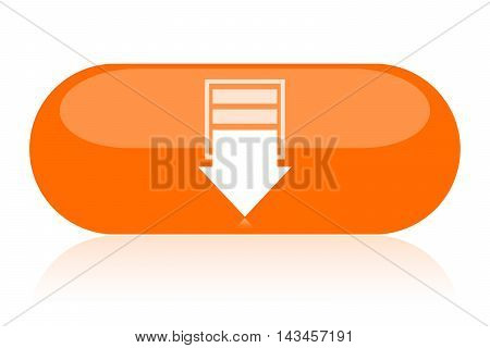 Big orange download button isolated on white