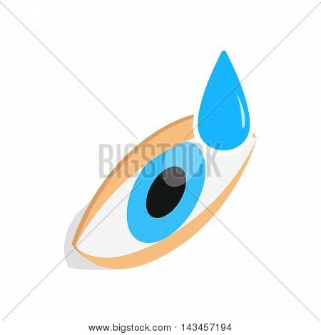 Eye drops for treatment icon in isometric 3d style isolated on white background. Vision symbol