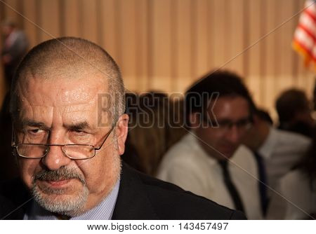 Kyiv, Ukraine - June 11 2015: Leader of the Crimean Tatar national movement in Ukraine and worldwide Refat Chubarov speks to journalists during visit of United States Ambassador to the United Nations Samantha Power to Ukraine's capital
