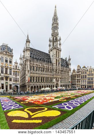 Brussels Belgium - August 13 2016 : Floral Carpet in Grand Place on August 13 2016 in Brussels. This event takes place every 2 years; in 2016 the design was chosen to celebrate the 20th Flower Carpet.