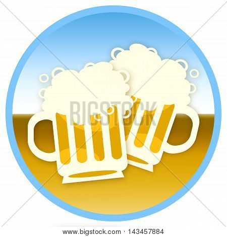 Two beer mugs round sticker siolated on white background