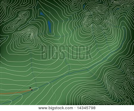 Illustration of a generic contour map of mountains. Editable vector file (.eps) also available.