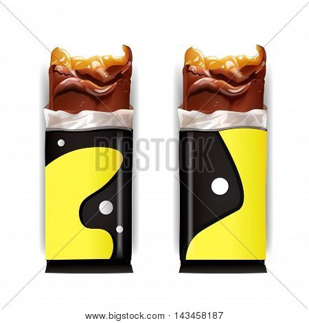 Vector Blank Food Packaging for Chocolate Bar. Wrapper Design . Isolated On White Background.