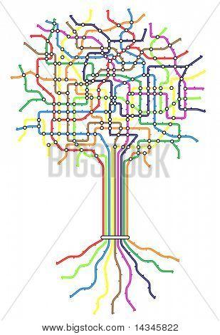Metrô de vetoriais editáveis mapa na forma de uma árvore com fácil mudar cores e espessura de linha