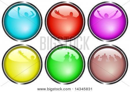 Set of editable vector glossy web buttons with reflections of people