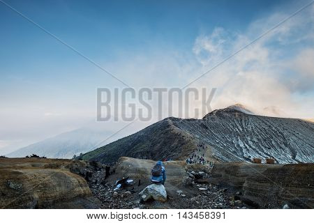 Landscape of Kawah Ijen mountain, in the morning