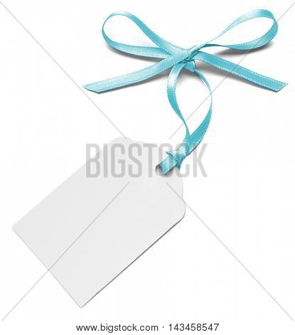 Card with a blue ribbon isolated on white