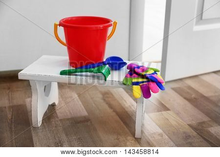 Baby toys on the stool