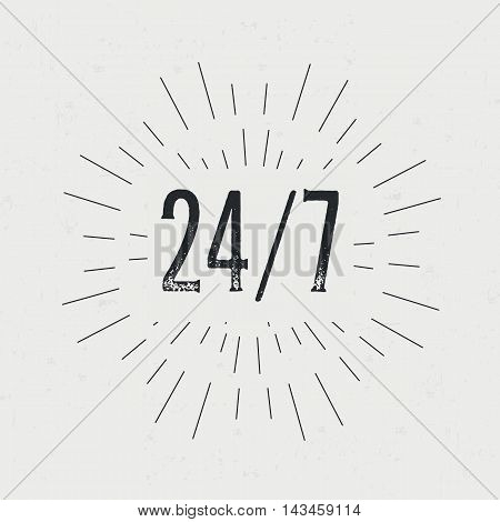 Abstract creative vector design layout with text - 24 7. Vintage concept background, art template, retro elements, logo, labels, badge, ink, tag card Handmade typography