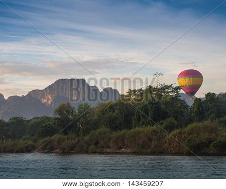 Hot air balloon high in the sky.
