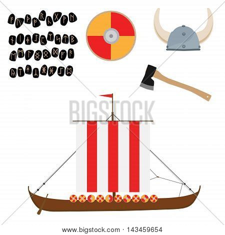 Viking set with helmet axe drakkar ship and shield raster icon isolated scandinavian. Elder Futhark runes. Old Norse Scandinavian runes. Germanic letter. Alphabet