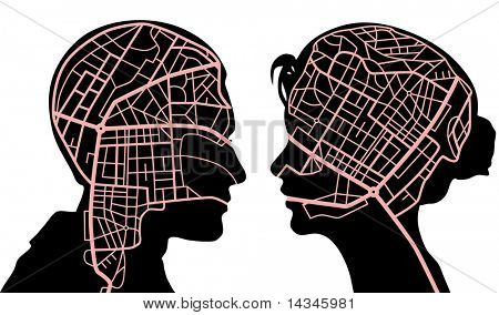 Illustration of roadmaps in the minds of a man and woman