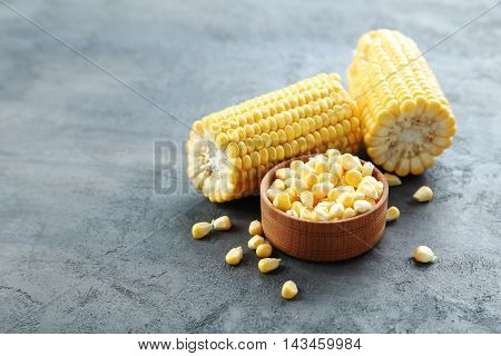 Sweet Corn On A Grey Wooden Table