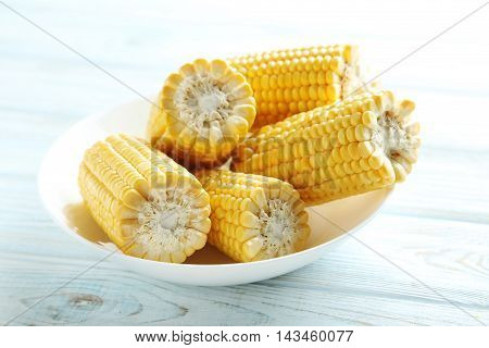 Sweet Corns On A White Wooden Table