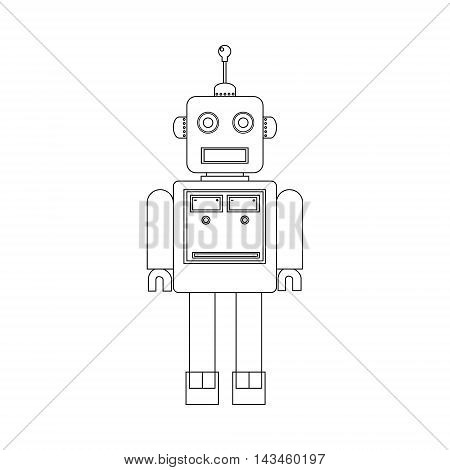 Vector illustration cute retro robot. Vintage robot icon. Machine robot flat outline drawing