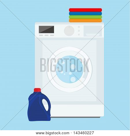 Flat design vector illustration of modern washing machine with pile of clothes and laundry bottle. Clothes stack. Washing clothes