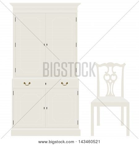 Vector illustration white vintage cabinet and chair. Retro interior furniture