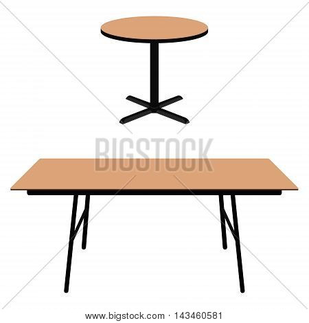 Vector illustration empty wooden round table and rectangle dining table. Wooden furniture.
