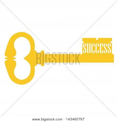 Vector illustration old golden key. Concept key of success meaning overcoming difficulties goals achievement opportunities for business development.