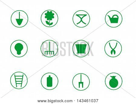 Window gardening icon set with twelve icons